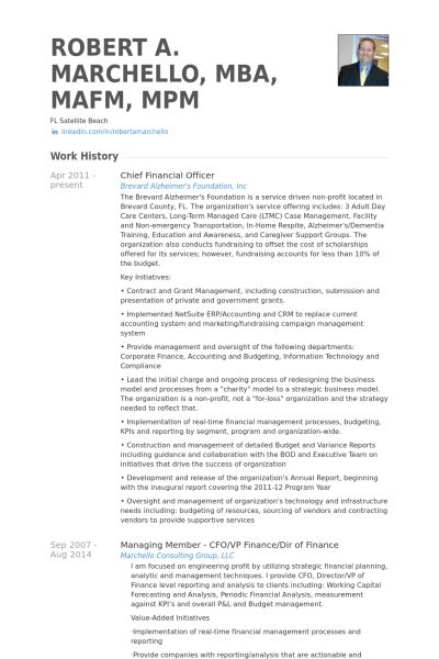 Chief Financial Officer Resume samples - VisualCV resume samples ...