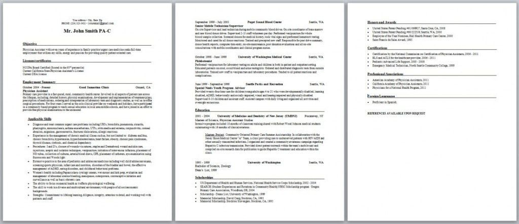 Physician Assistant Resume Template. Example Of Medical Assistant ...