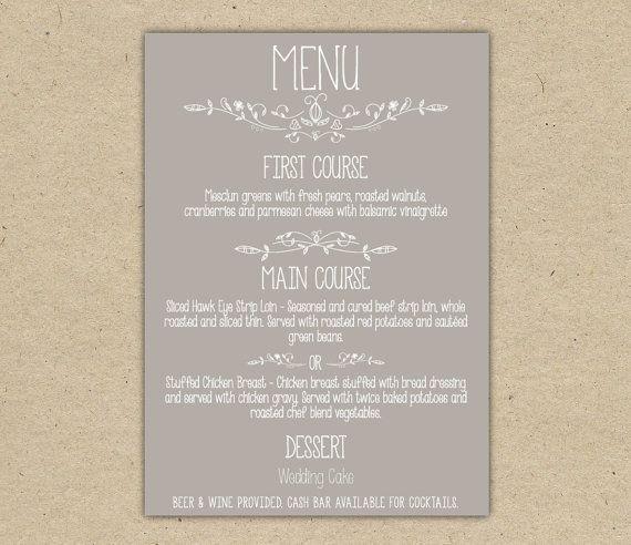 38 best Menu etsy images on Pinterest | Wedding menu, Wedding menu ...