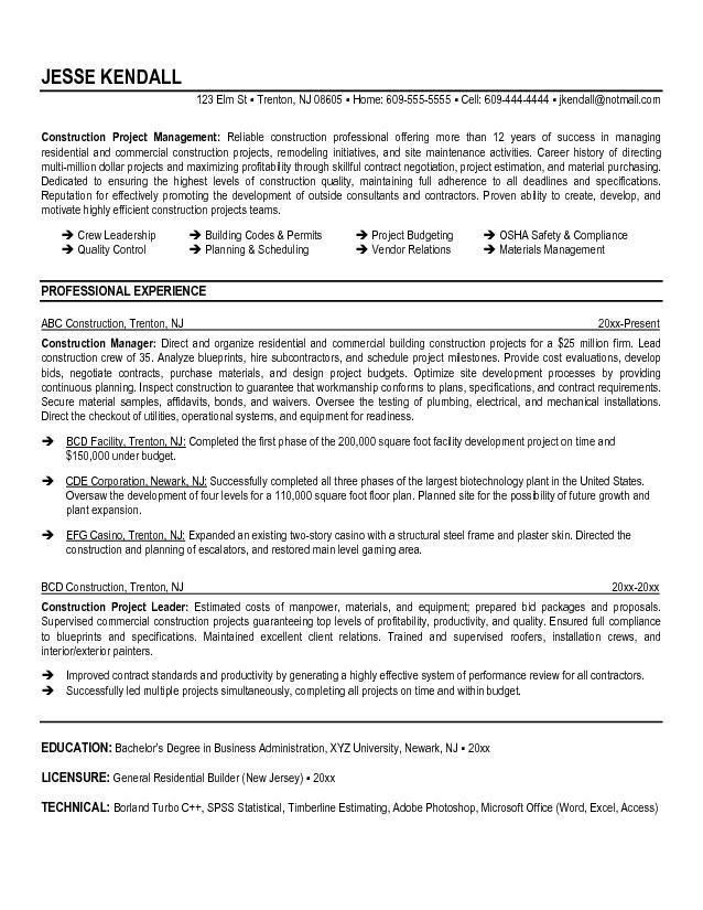 Construction Project Manager Resume Examples. Construction Manager ...