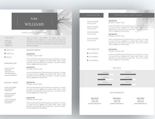 hervatten van sjabloon 3pk cv template door theresumeboutique ...