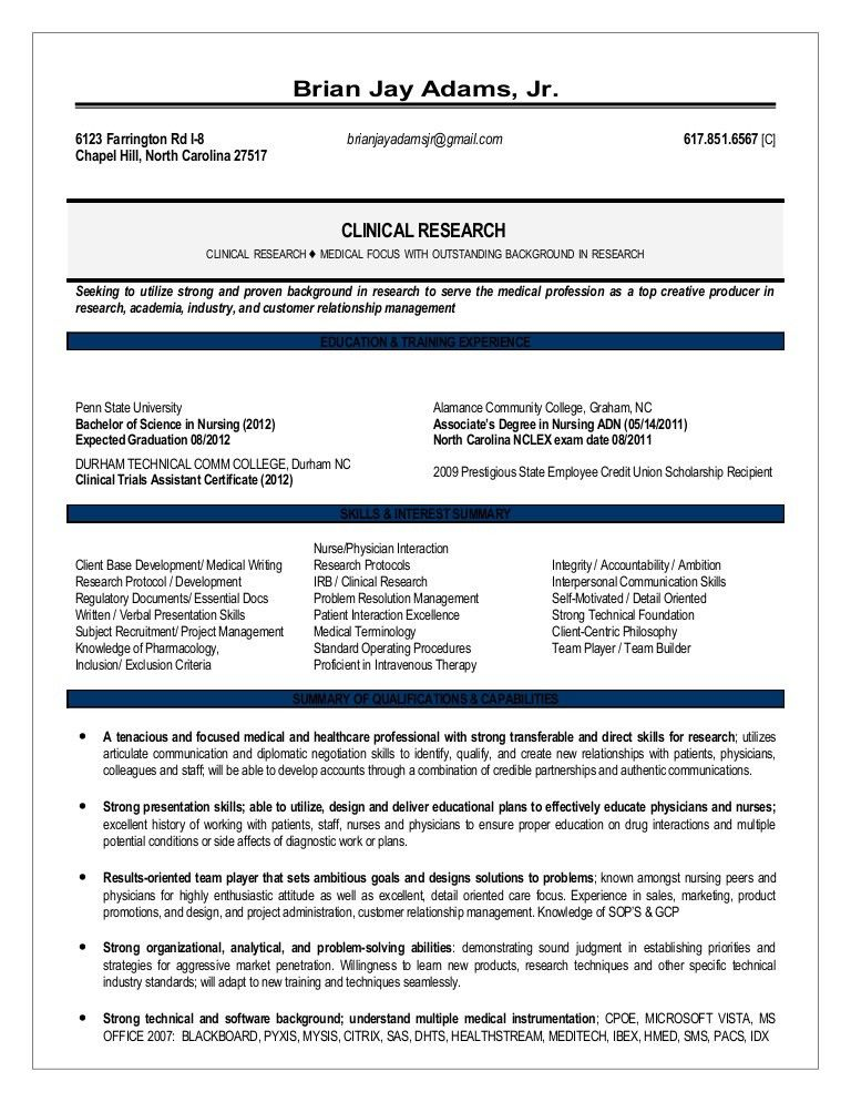 clinical trail administrator sample resume clinical research