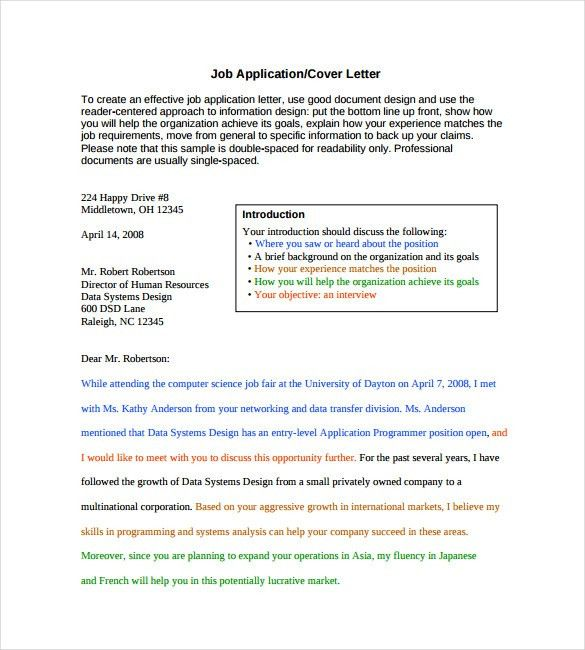 Employment Cover Letter Template – 8+ Free Word, PDF Documents ...