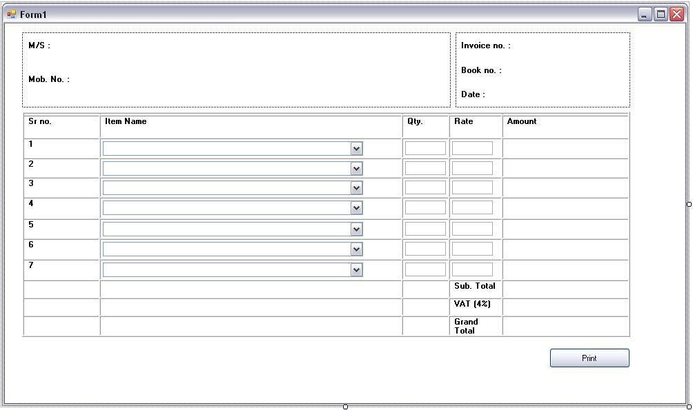 Stunning Sample of Billing Invoice Form with Item Name and ...