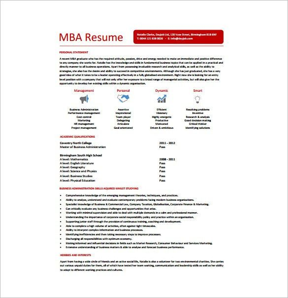 Master of Business Administration Resume Template – 8+ Free Word ...