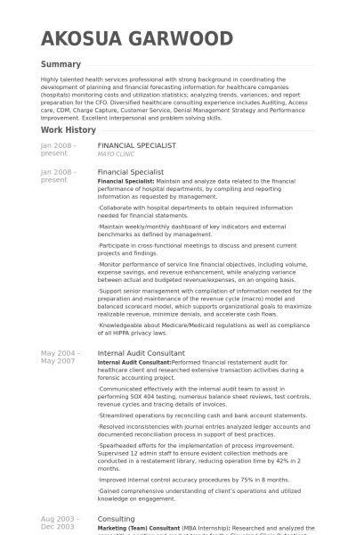 Financial Specialist Resume samples - VisualCV resume samples database