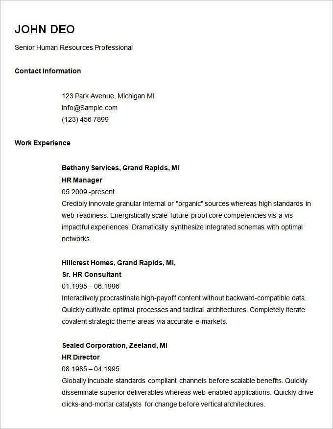 Free Professional Resume Templates. Basic Resume Template For ...