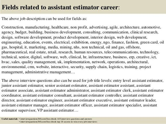 assistant estimator cover letter