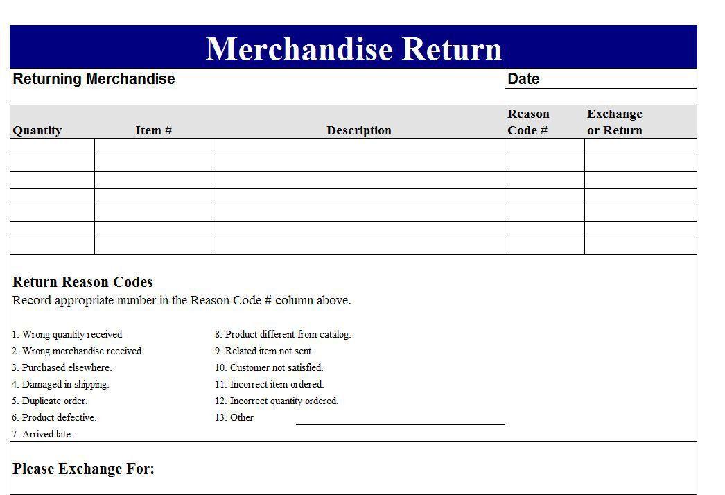 Return Merchandise Authorization Form Template