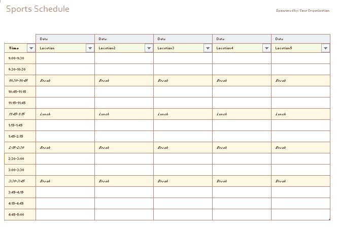 Schedule Templates - Free Printable (MS Word, MS Excel)