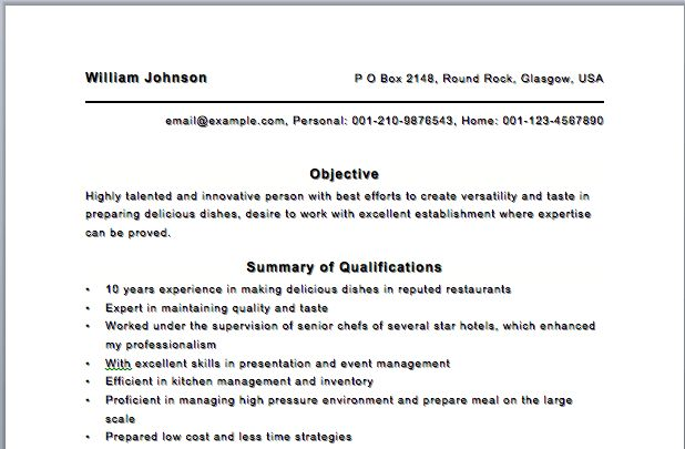 free chef resume template. example chef resume chef resume cv ...