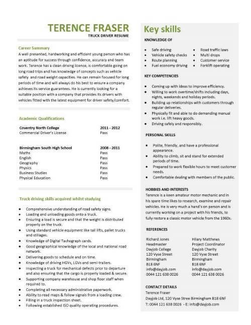 Resume Template For Driver Position - Resume Sample