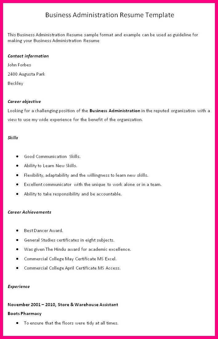 Business Administration Resume Business Administration Resume