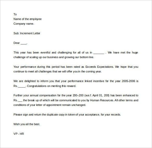Salary increase letter to employee