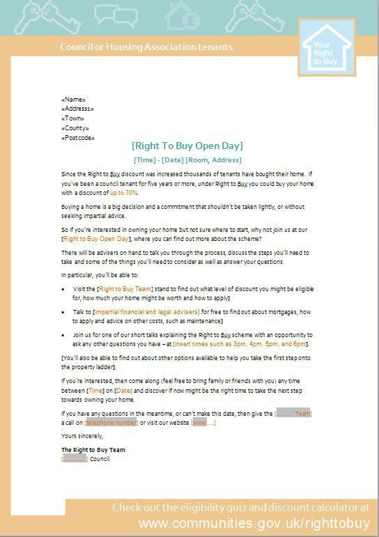 Right to Buy – Event Invite Letter Template