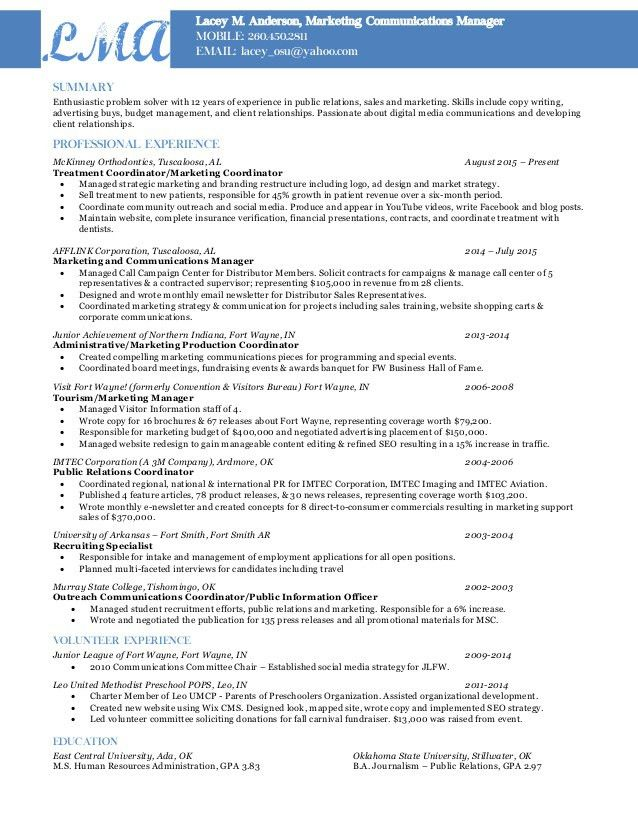 central head corporate communication resume marketing