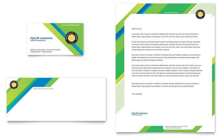 Tennis Club & Camp Business Card & Letterhead Template - Word ...