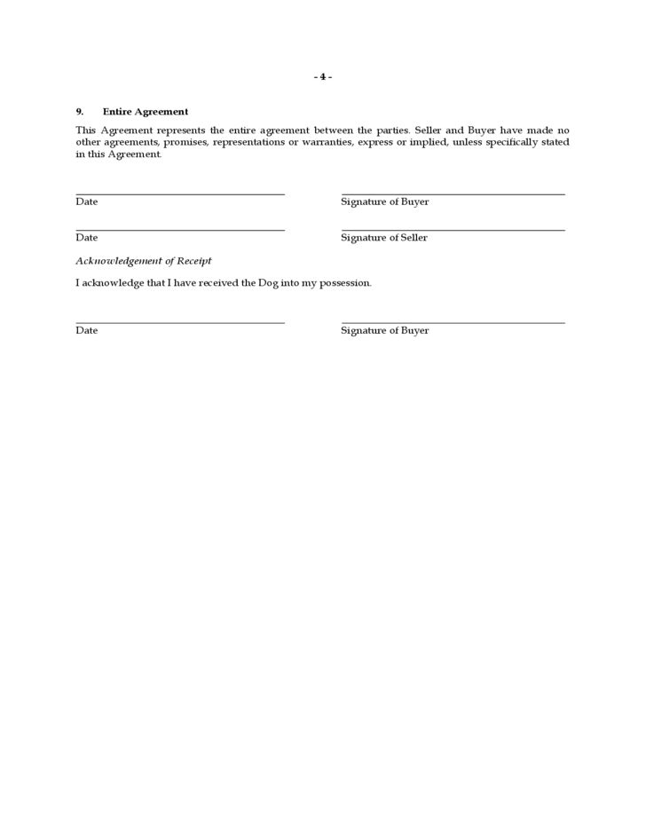 Dog Bill of Sale Form Sample Free Download
