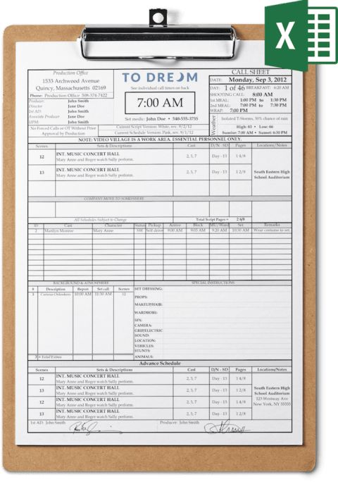 Call Sheet Template Excel Free Download | SetHero Call Sheet Software