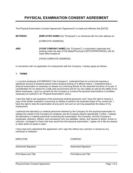 Physical Exam Consent - Template & Sample Form | Biztree.com