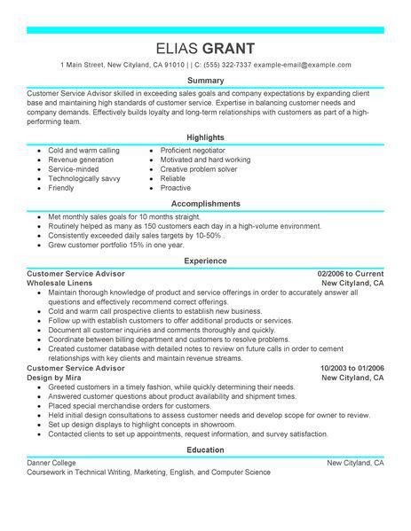 Best Sales Customer Service Advisor Resume Example | LiveCareer