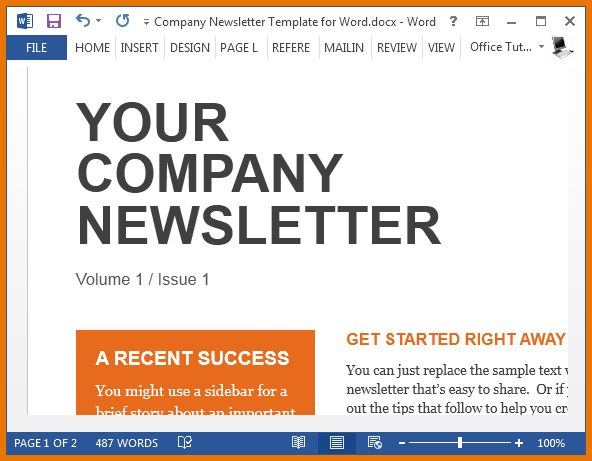 Newsletter Templates Free Word Free Sample Newsletter Templates