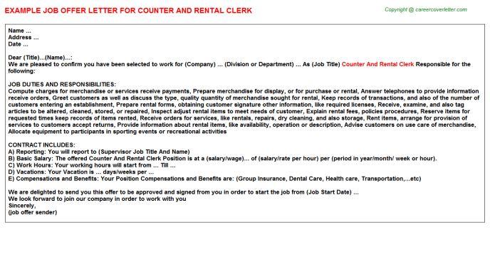 Counter And Rental Clerk Offer Letter
