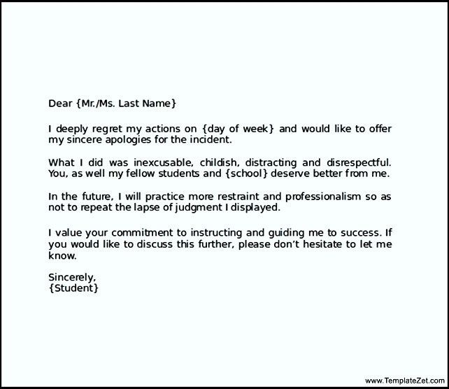 Apology Letter to Teacher for Cheating | TemplateZet