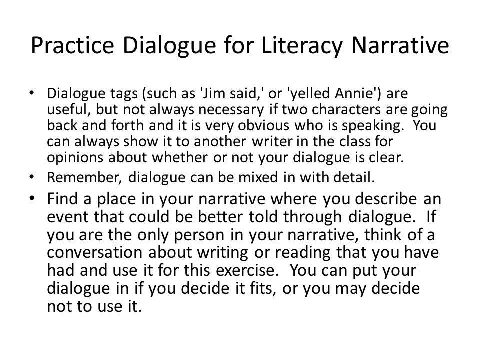 literacy narrative essay example - Narrative Essay With Dialogue Example