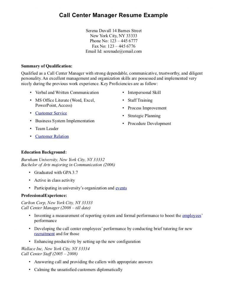 100+ Call Center Resume Example - 31 Best Sample Resume Center ...