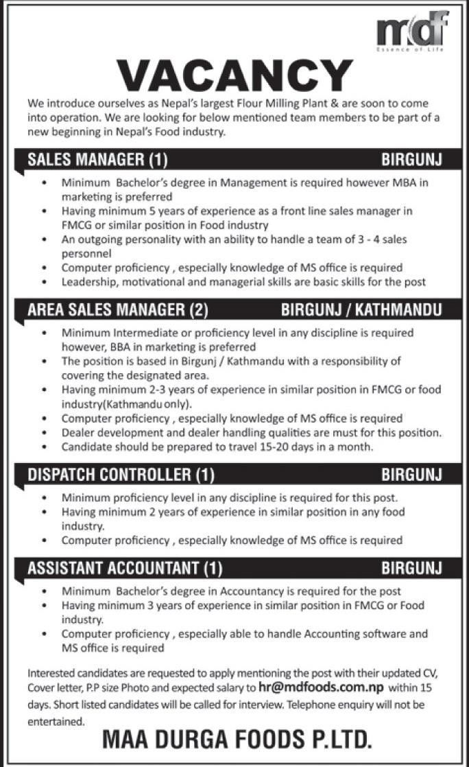SALES MANAGER,AREA SALES MANAGER,DISPATCH CONTROLLER &ASSISTANT ...