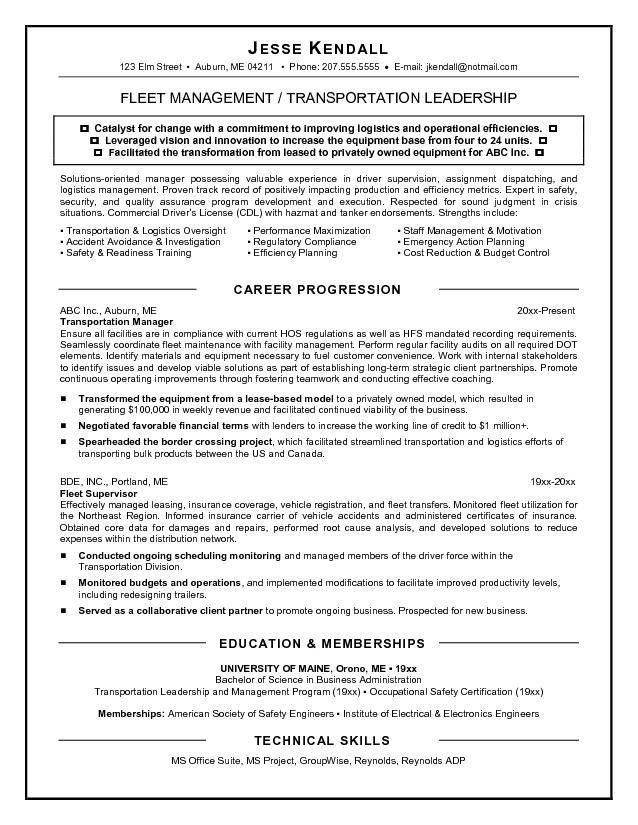 Examples Of Resumes For Management Positions