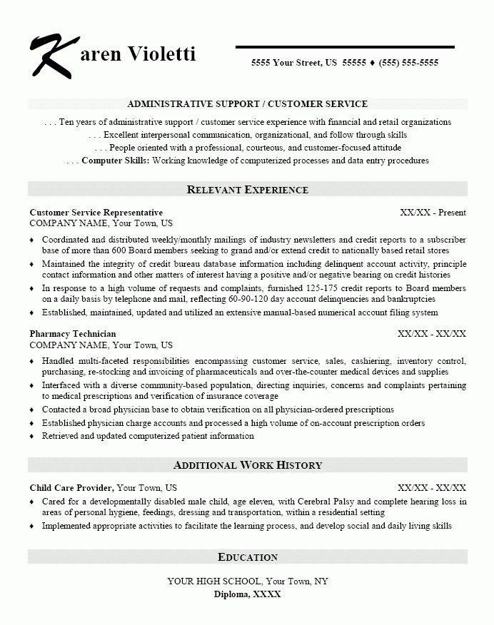 Professional Summary Resume Examples. Customer Service ...