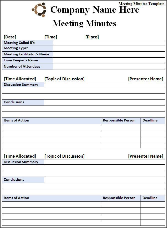 Minutes Of Meeting Template | Best Business Template