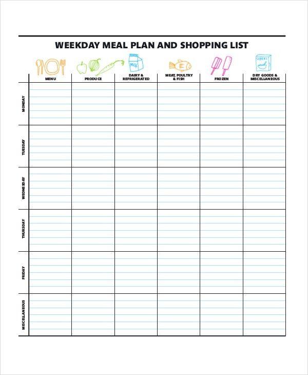 Meal Calendar Template. Weekly Meal Planner Printable 118 Best ...