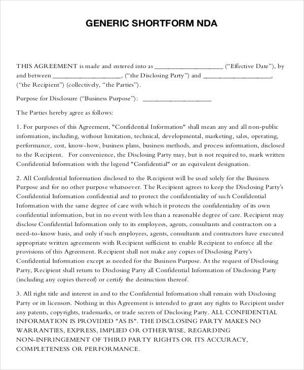 Mutual Non Disclosure Agreement Form U2013 10+ Free Word, PDF .