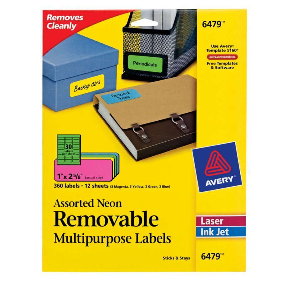 Avery Removable LaserInkjet Multipurpose Labels 1 x 2 58 Assorted ...