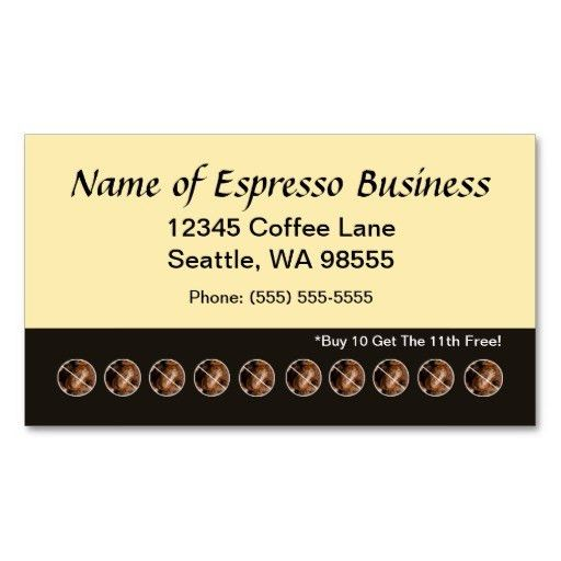 Funny Espresso Punch Card Coffee Beans Business Card Template ...