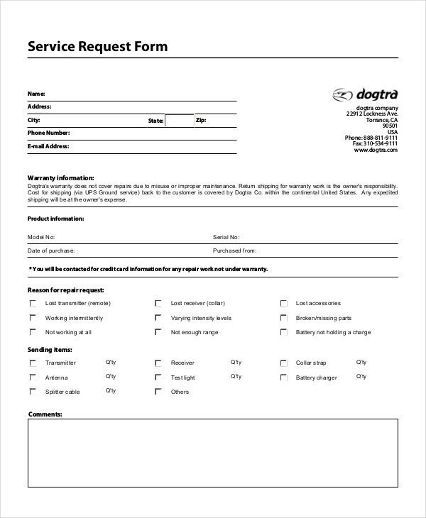 Service Request Form Templates - Find Word Templates