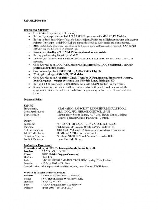 resume resume format download pdf abap sample resumes stonevoices ...