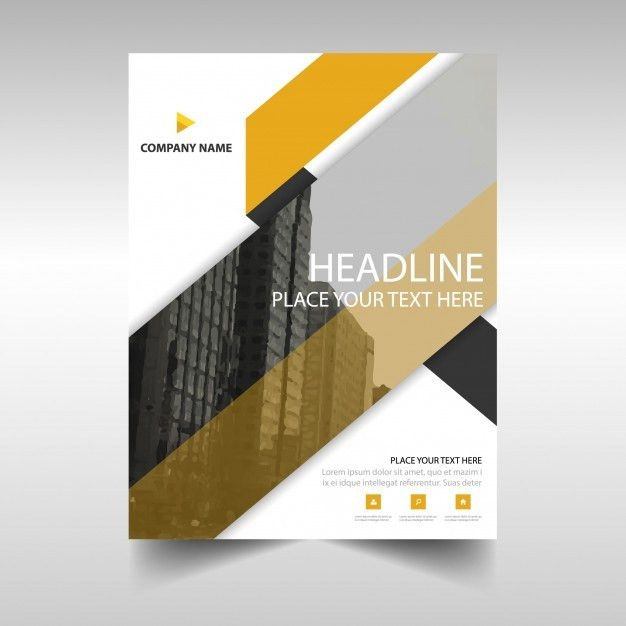 Yellow geometric annual report book cover template Vector | Free ...