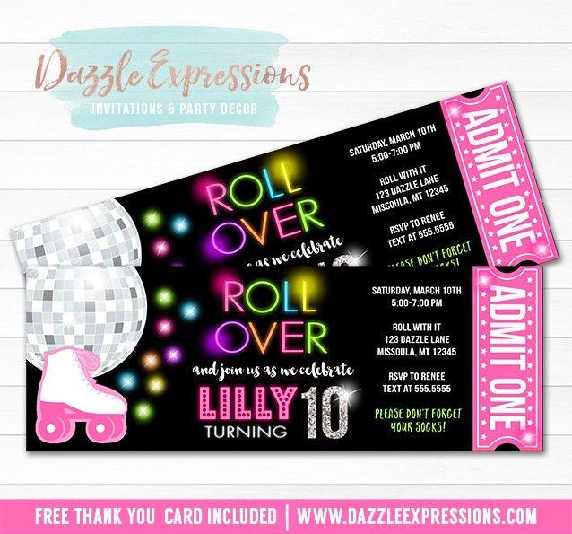Printable Roller Skating Disco Ticket Birthday Invitation - Neon ...