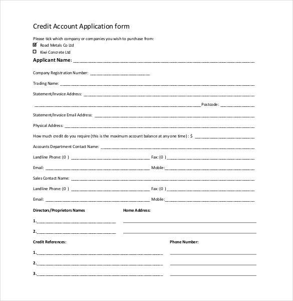 Credit Application Template - 32+ Examples in PDF, Word | Free ...