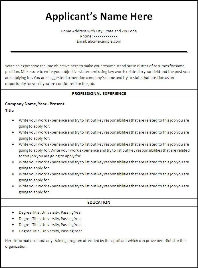free printable resumes templates best 25 free printable resume ...
