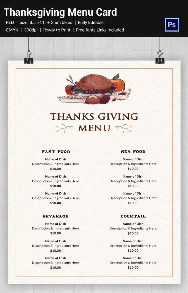 25+ Thanksgiving Menu Templates – Free Sample, Example Format ...