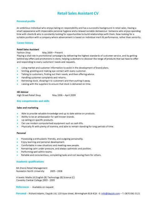 Retail Experience Resume Sample - gallery Creawizard.com