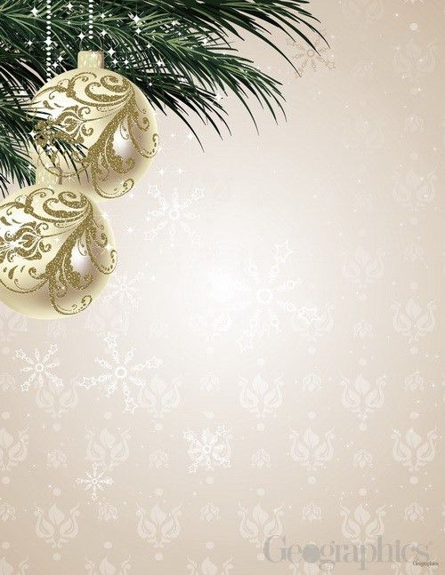 Ornaments & Pine Gold Foil Christmas Letterhead | Printable ...