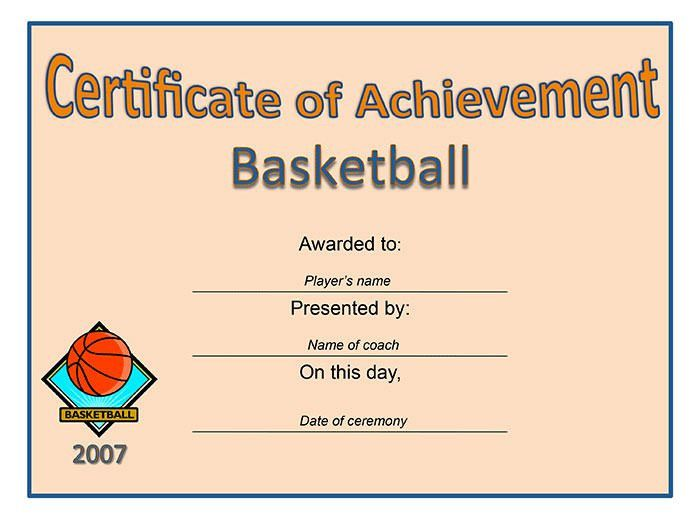 Sport Themed Certificate Of Achievement Template Free Sample ...