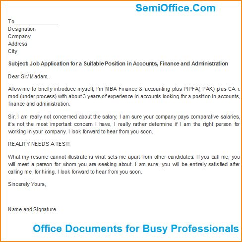 a job application format - Basic Job Appication Letter