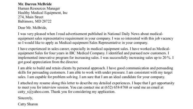 sales representative cover letter medical equipment - Writing ...